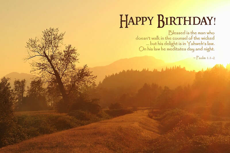 Blessed is the Man Birthday Card Posters by Tracy Friesen – Birthday Card for a Man