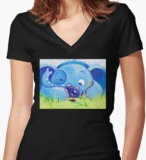 Photographer - Rondy the Elephant with photo camera Women's Fitted V-Neck T-Shirt