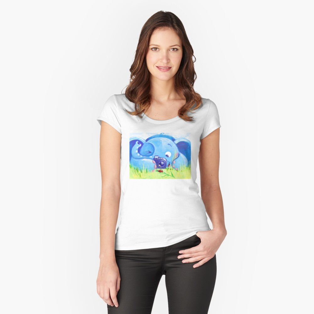 Photographer - Rondy the Elephant with photo camera Women's Fitted Scoop T-Shirt Front
