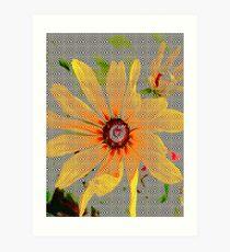 Yellow sunflower design vertical view Art Print