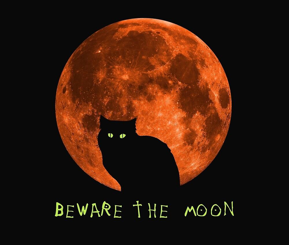 Black Cat   Beware The Moon   Halloween by Kittyworks