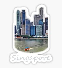 Amphibious Vehicle in front of Singapore Skyline Sticker