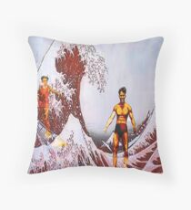 Surfing in Japan  Throw Pillow
