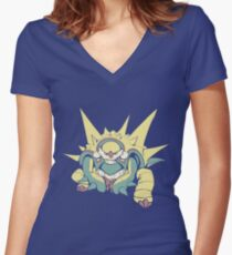 Spikey Shield_Pop Women's Fitted V-Neck T-Shirt