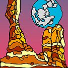 Balanced Rock and Full Moon Illustration  by strayfoto