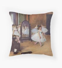 Edgar Degas French Impressionism Oil Painting Ballerinas Rehearsing Throw Pillow
