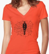 A spider at the center of a web Women's Fitted V-Neck T-Shirt