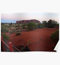 Uluru - at sunrise (Kata Tjuta to the left in the distance) Poster