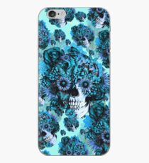 Blue grunge ohm skull.  iPhone Case
