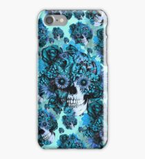 Blue grunge ohm skull.  iPhone Case/Skin