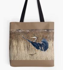 Great Blue Heron Landing Tote Bag