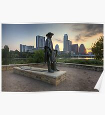 Texas Images - Stevie Ray Vaughan Statue and the Austin Skyline at Sunrise Poster