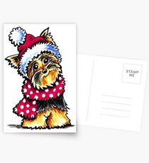 Yorkie Happy Winter Hat & Scarf Postcards