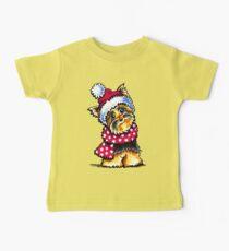 Yorkie Happy Winter Hat & Scarf Baby Tee