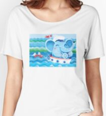 Sailor - Rondy the Elephant on a boat Women's Relaxed Fit T-Shirt