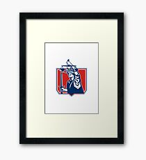 Statue of Liberty Wielding Sword Scales Justice Framed Print