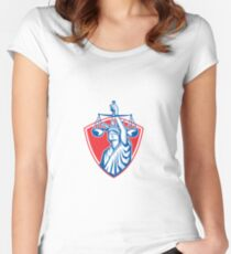 Statue of Liberty Raising Justice Scales Retro Women's Fitted Scoop T-Shirt