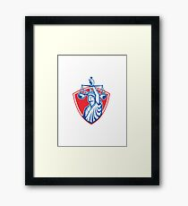 Statue of Liberty Raising Justice Scales Retro Framed Print