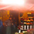 flower market though the rain by kchamula