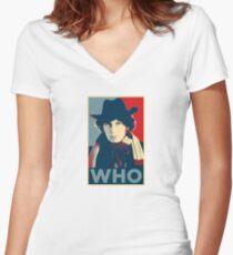 Doctor Who Tom Baker Barack Obama Hope style poster Women's Fitted V-Neck T-Shirt