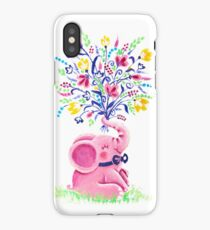 Spring Bouquet - Rondy the Elephant holding beautiful flowers iPhone Case