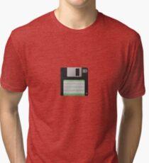 3.5 Inch Floppy Disk - Black Tri-blend T-Shirt
