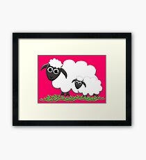 Mom & Lamb with Hot Pink Framed Print