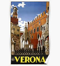 Vintage Verona Italy Architecture Travel Poster