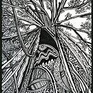 Regal, Ink Tree Drawing by Danielle Scott