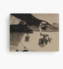 Vintage Black and White Military Bulldog Aviation Canvas Print