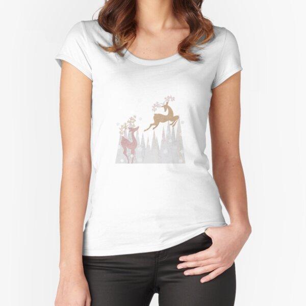 Christmas Deer Fitted Scoop T-Shirt