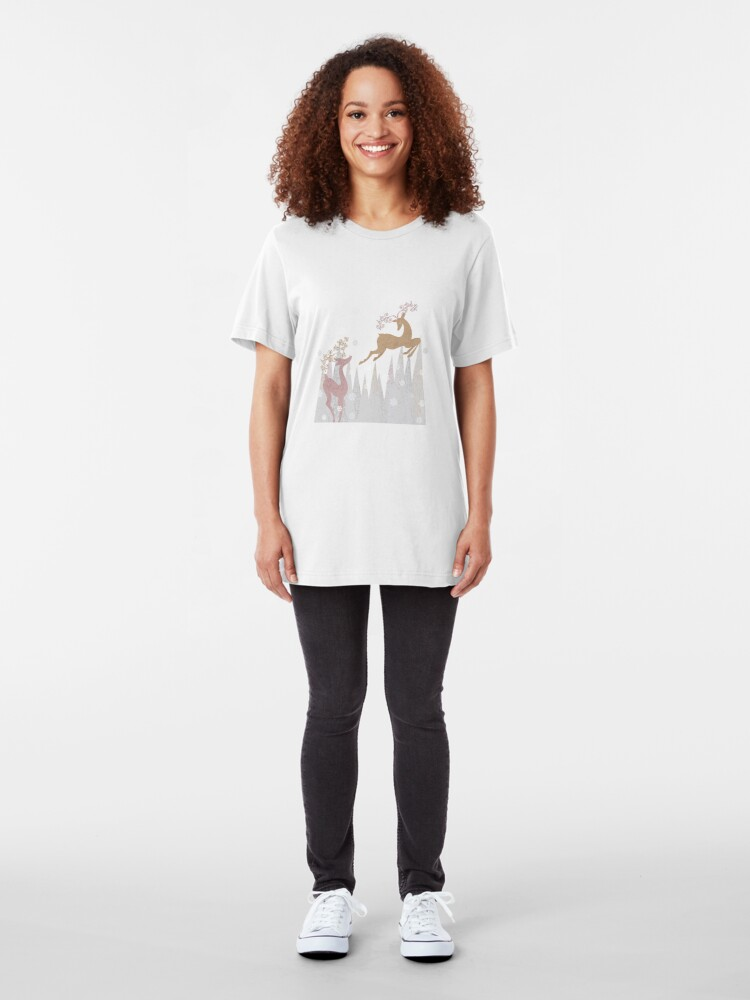 Alternate view of Christmas Deer Slim Fit T-Shirt