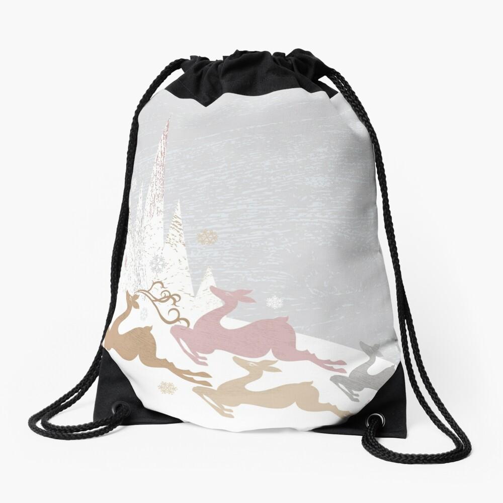 Winter Deer Drawstring Bag