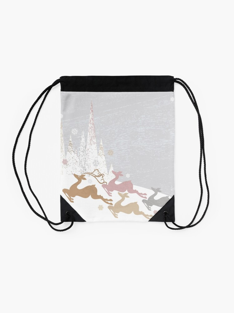 Alternate view of Winter Deer Drawstring Bag