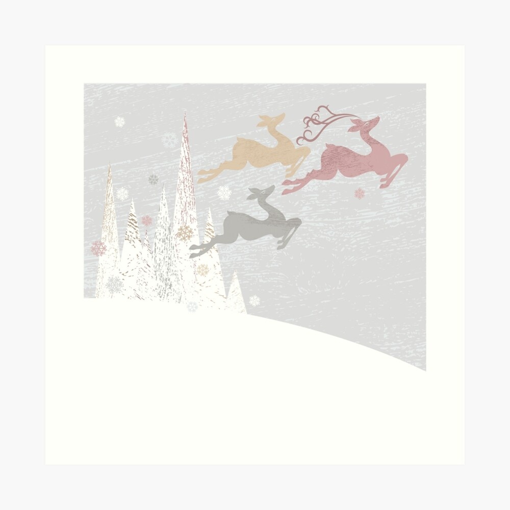 Flying Christmas Deer Art Print