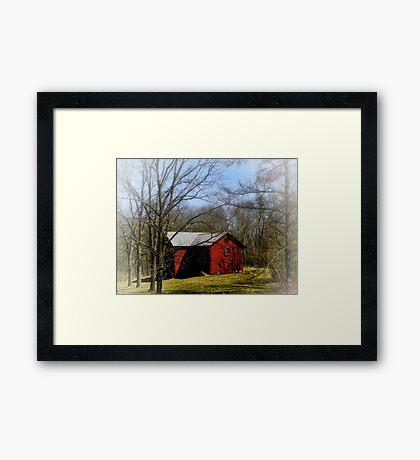 Red Barn in the Mist Framed Print