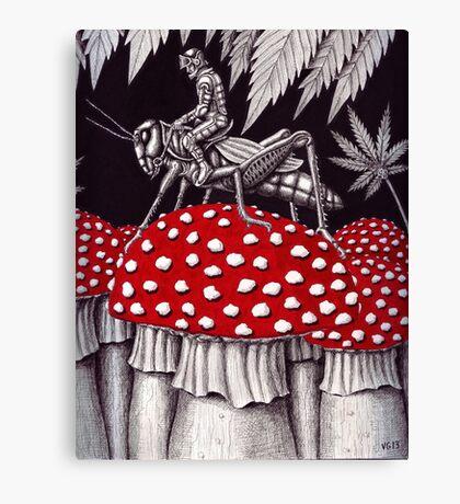Grasshopper Rider surreal ink pen drawing Canvas Print