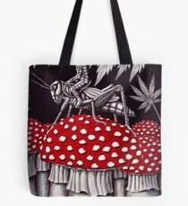 Grasshopper Rider surreal ink pen drawing Tote Bag
