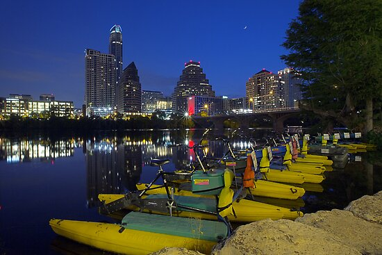 Texas Images - Austin Skyline on an early Saturday Morning from Ladybird Lake by RobGreebonPhoto