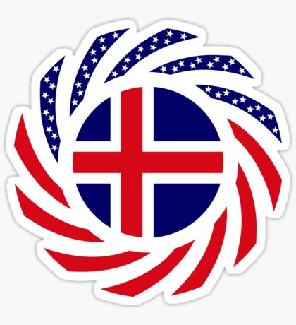 Icelandic American Multinational Patriot Flag Series Sticker