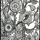 The Rainforest, Ink Tree Drawing by Danielle Scott