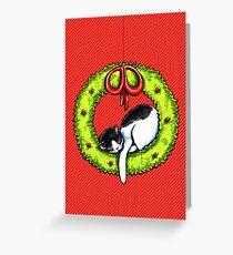 Christmas Kitty Wreath Greeting Card