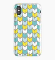 Tulip Knit (Aqua Gray Yellow) iPhone Case