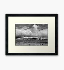 Mackinac Bridge Cloudy Day Lake Huron Side Framed Print