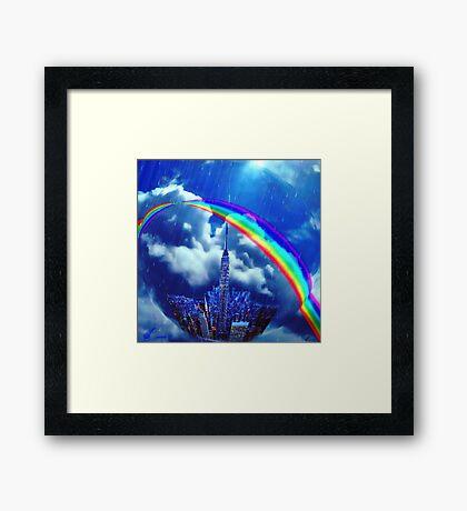Rainbow city Framed Print