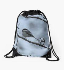 Chickadee In Snow Drawstring Bag