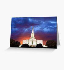 Jordan River Temple Stormy Sunset 30x20 Greeting Card