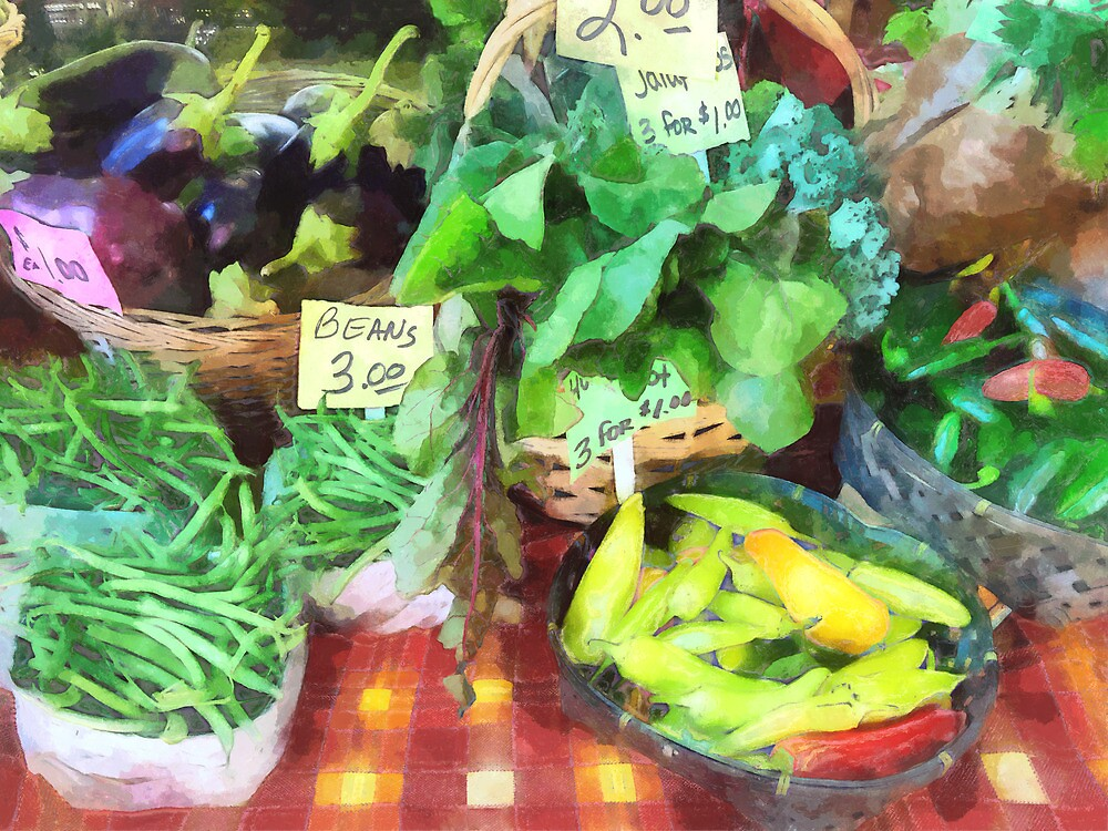 Farmer's Market - Peppers and String Beans by Susan Savad