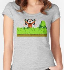 Duck Hunt Dog with 2 Ducks Women's Fitted Scoop T-Shirt