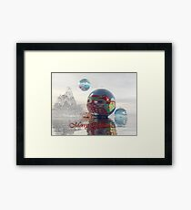 Magical fantasy Christmas card with floating Baubles Framed Print